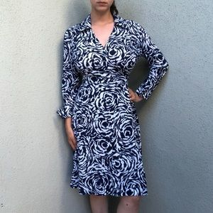 [vintage] 70s Sears true wrap patterned dress